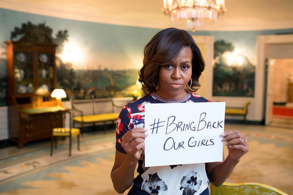 """Michelle Obama che vuole """"our girls back"""""""